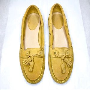 FRYE WENDY SUEDE LEATHER MUSTARD MOCCASIN LOAFERS